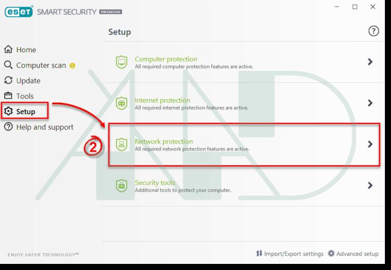 به مسیر Setup → Network protection میریم