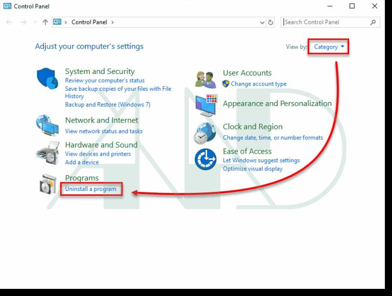 باز کردن Uninstall a program در ویندوز